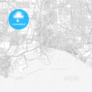 Long Beach, California, USA, bright outlined vector map - HEBSTREITS Sketches