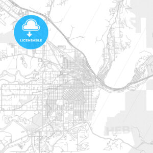 Missoula, Montana, USA, bright outlined vector map - HEBSTREITS Sketches