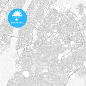 New York City, New York, USA, bright outlined vector map - HEBSTREITS Sketches