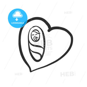 Newborn baby icon in heart - HEBSTREITS Sketches