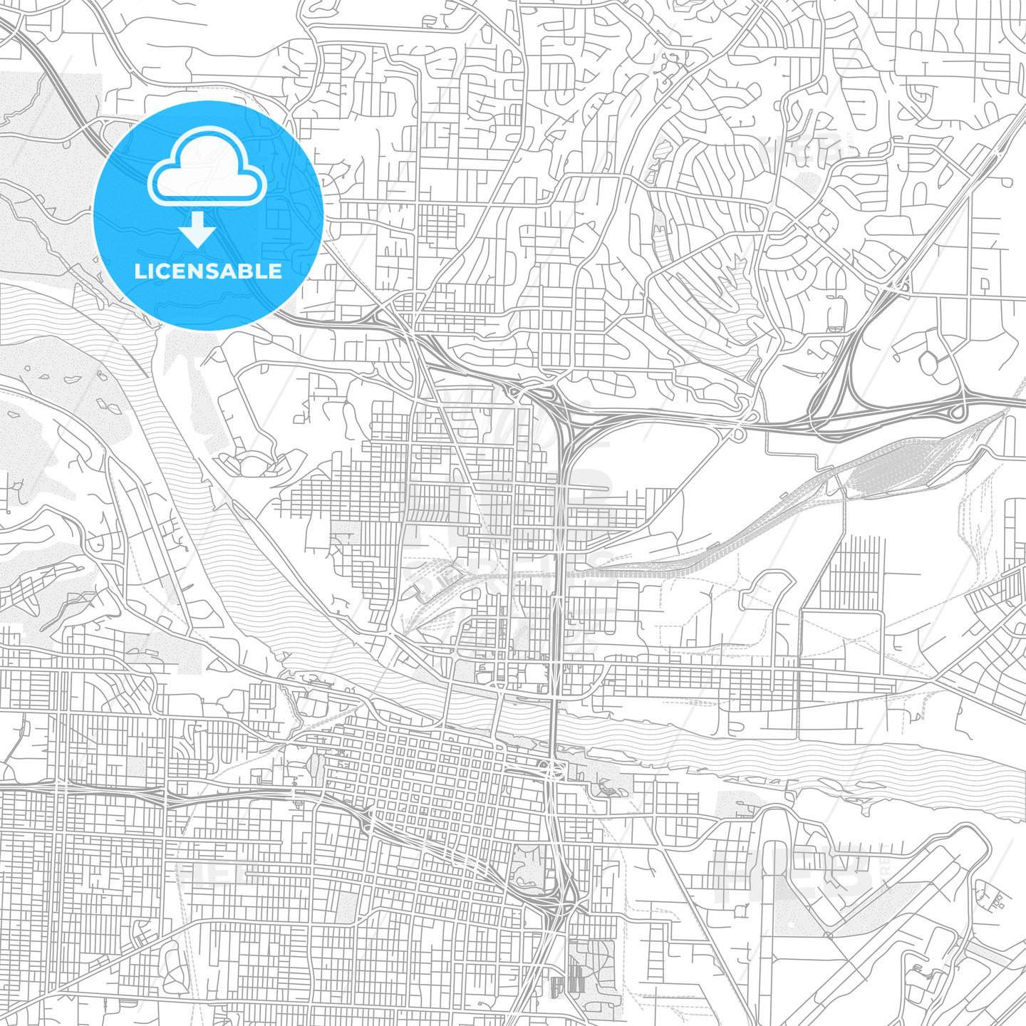 North Little Rock, Arkansas, USA, bright outlined vector map