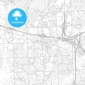 Novi, Michigan, USA, bright outlined vector map - HEBSTREITS Sketches