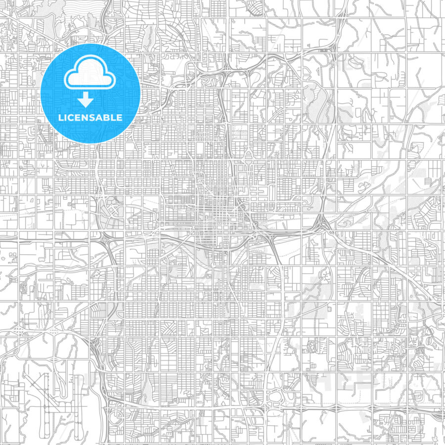 Oklahoma City, Oklahoma, USA, bright outlined vector map - HEBSTREITS Sketches