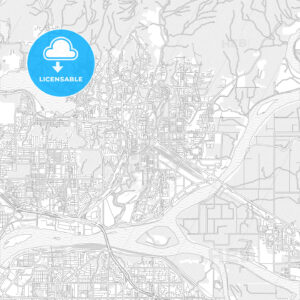 Port Coquitlam, British Columbia, Canada, bright outlined vector map - HEBSTREITS Sketches