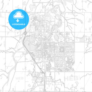 Red Deer, Alberta, Canada, bright outlined vector map - HEBSTREITS Sketches
