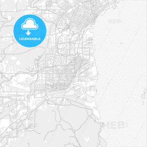Thunder Bay, Ontario, Canada, bright outlined vector map - HEBSTREITS Sketches