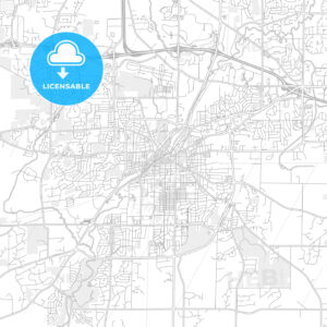 Waukesha, Wisconsin, USA, bright outlined vector map - HEBSTREITS Sketches