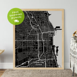 Custom black and white map print