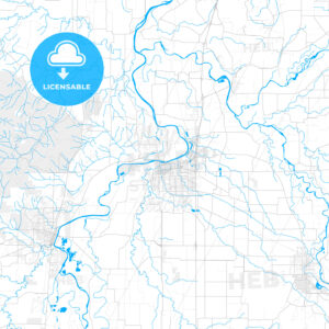 Rich detailed vector map of Albany, Oregon, United States of America - HEBSTREITS Sketches
