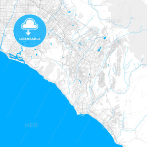 Rich detailed vector map of Aliso Viejo, California, United States of America - HEBSTREITS Sketches