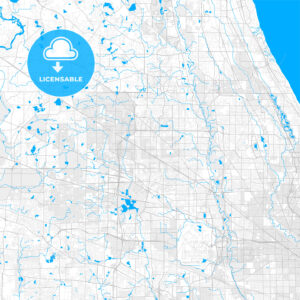 Rich detailed vector map of Arlington Heights, Illinois, USA - HEBSTREITS Sketches