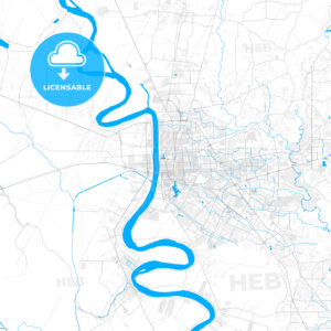 Rich detailed vector map of Baton Rouge, Louisiana, U.S.A. - HEBSTREITS Sketches