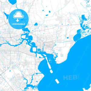 Rich detailed vector map of Baytown, Texas, USA - HEBSTREITS Sketches