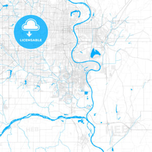 Rich detailed vector map of Bellevue, Nebraska, United States of America - HEBSTREITS Sketches
