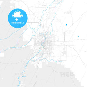 Rich detailed vector map of Bend, Oregon, USA - HEBSTREITS Sketches
