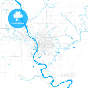 Rich detailed vector map of Bismarck, North Dakota, USA - HEBSTREITS Sketches