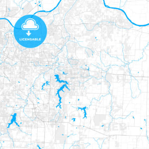 Rich detailed vector map of Blue Springs, Missouri, USA - HEBSTREITS Sketches