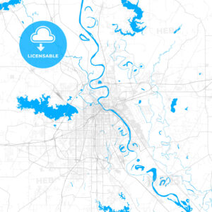 Rich detailed vector map of Bossier City, Louisiana, USA - HEBSTREITS Sketches