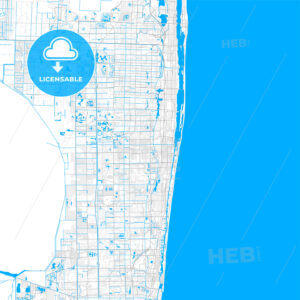 Rich detailed vector map of Boynton Beach, Florida, USA - HEBSTREITS Sketches