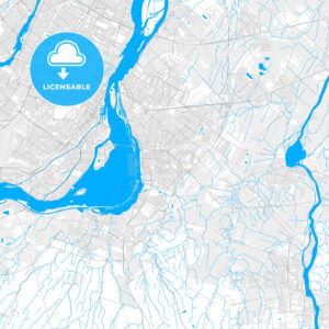 Rich detailed vector map of Brossard, Quebec, Canada - HEBSTREITS Sketches
