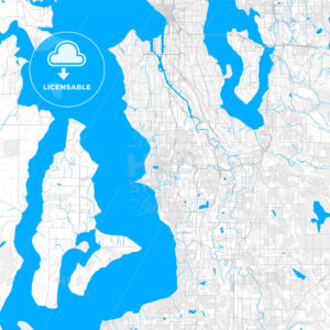Rich detailed vector map of Burien, Washington, United States of America - HEBSTREITS Sketches