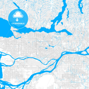 Rich detailed vector map of Burnaby, British Columbia, Canada - HEBSTREITS Sketches