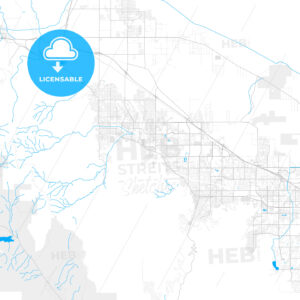 Rich detailed vector map of Cathedral City, California, United States of America - HEBSTREITS Sketches