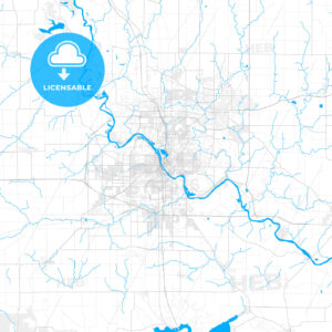 Rich detailed vector map of Cedar Rapids, Iowa, USA - HEBSTREITS Sketches