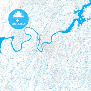 Rich detailed vector map of Chattanooga, Tennessee, USA - HEBSTREITS Sketches