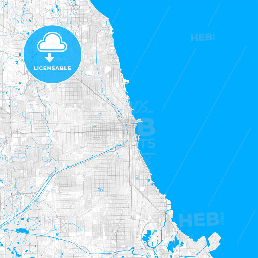 Rich detailed vector map of Chicago, Illinois, U.S.A. - HEBSTREITS Sketches