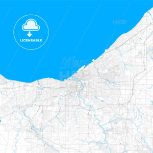 Rich detailed vector map of Cleveland, Ohio, U.S.A. - HEBSTREITS Sketches