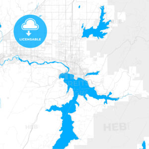 Rich detailed vector map of Coeur d Alene, Idaho, United States of America - HEBSTREITS Sketches