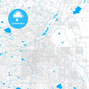 Rich detailed vector map of Commerce City, Colorado, USA - HEBSTREITS Sketches