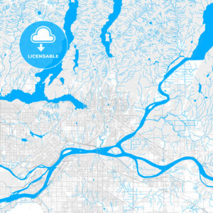 Rich detailed vector map of Coquitlam, British Columbia, Canada - HEBSTREITS Sketches