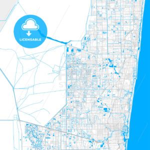 Rich detailed vector map of Coral Springs, Florida, USA - HEBSTREITS Sketches