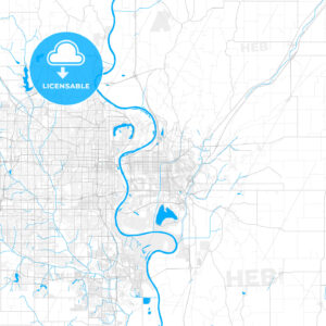 Rich detailed vector map of Council Bluffs, Iowa, USA - HEBSTREITS Sketches