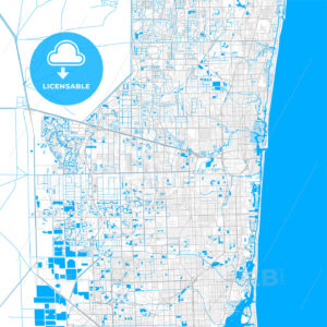 Rich detailed vector map of Davie, Florida, USA - HEBSTREITS Sketches
