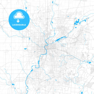 Rich detailed vector map of Dayton, Ohio, USA - HEBSTREITS Sketches