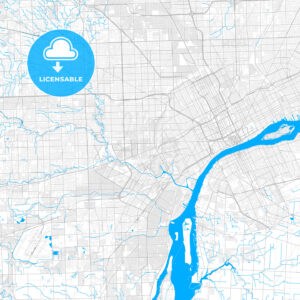 Rich detailed vector map of Dearborn, Michigan, USA - HEBSTREITS Sketches