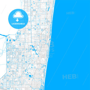 Rich detailed vector map of Deerfield Beach, Florida, USA - HEBSTREITS Sketches