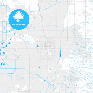 Rich detailed vector map of Delano, California, United States of America - HEBSTREITS Sketches