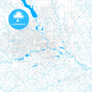 Rich detailed vector map of Des Moines, Iowa, USA - HEBSTREITS Sketches