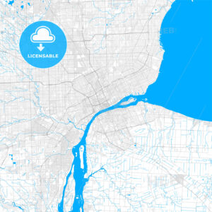 Rich detailed vector map of Detroit, Michigan, U.S.A. - HEBSTREITS Sketches