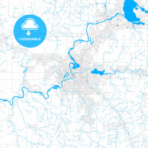 Rich detailed vector map of Eau Claire, Wisconsin, USA - HEBSTREITS Sketches