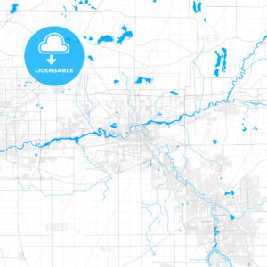 Rich detailed vector map of Elkhart, Indiana, United States of America - HEBSTREITS Sketches