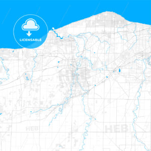 Rich detailed vector map of Elyria, Ohio, United States of America - HEBSTREITS Sketches