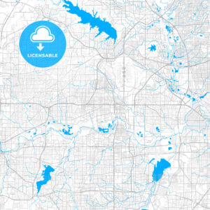 Rich detailed vector map of Euless, Texas, USA - HEBSTREITS Sketches