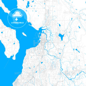 Rich detailed vector map of Everett, Washington, USA - HEBSTREITS Sketches