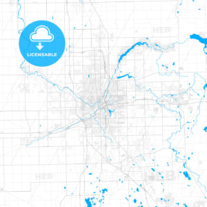 Rich detailed vector map of Flint, Michigan, USA - HEBSTREITS Sketches