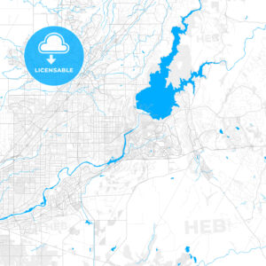 Rich detailed vector map of Folsom, California, USA - HEBSTREITS Sketches